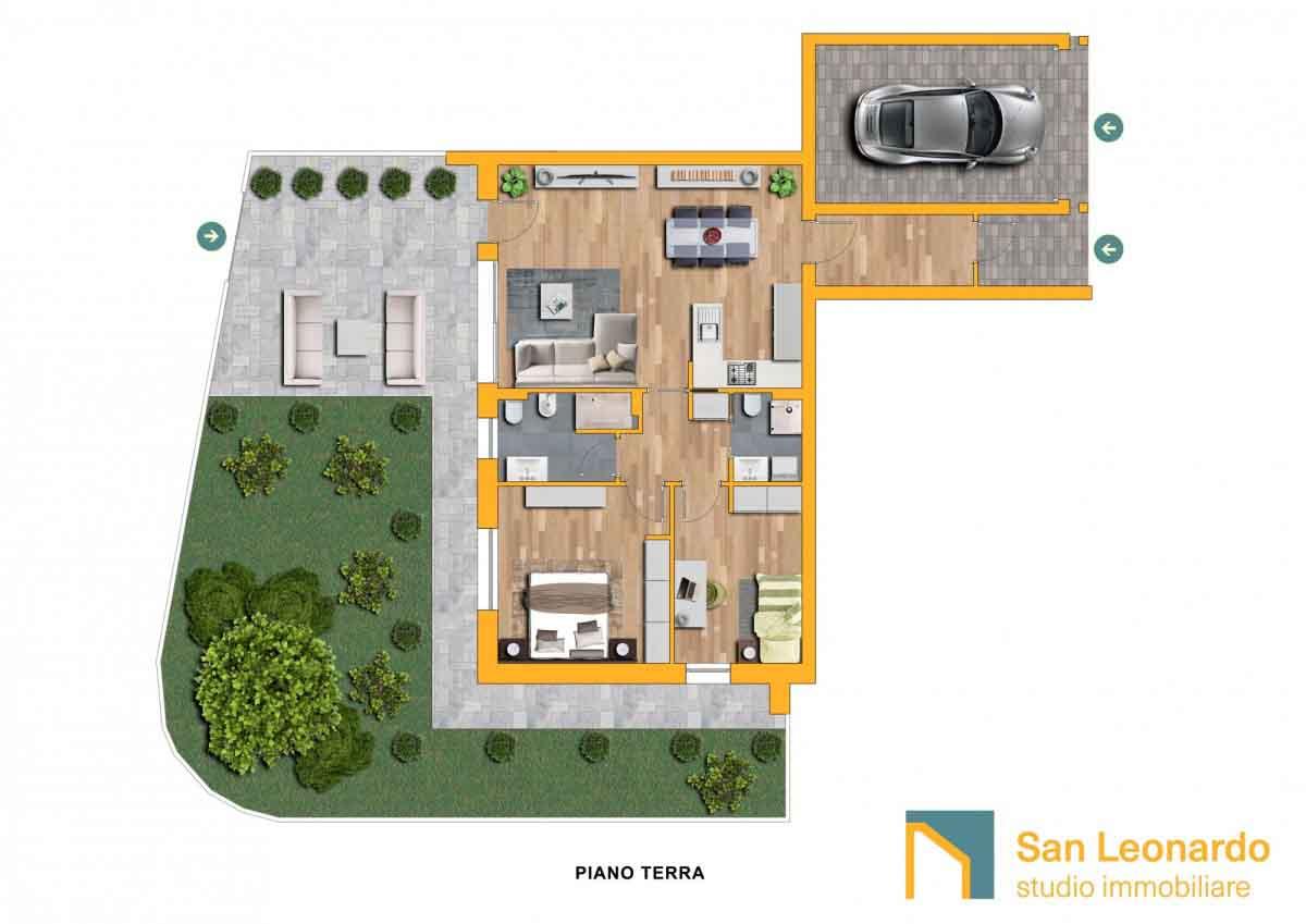 Planimetria arredata caso studio San Leonardo